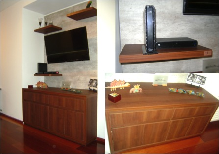 Mueble De TV Con Base de TV en Melamina de Concreto
